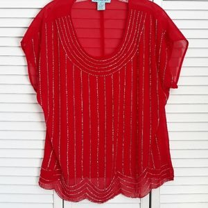 NWOT AINA BE Red Blouse beads size M